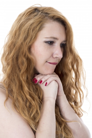 believing: Model Released. Attractive Young Woman Praying Stock Photo