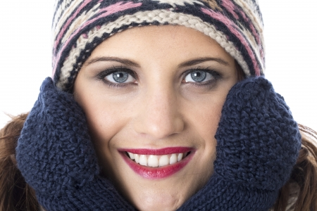 woolly: Model Released. Attractive Young Woman Wearing Woolly Hat and Gloves