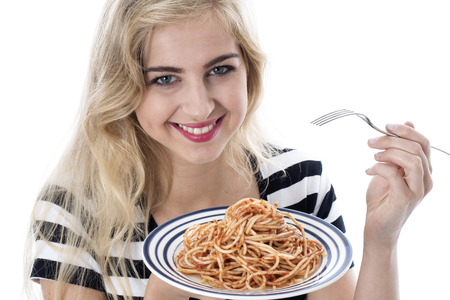 Attractive Young Woman Eating Spaghetti photo