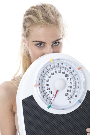 Model Released  Attractive Young Woman with Bathroom Scales Stock Photo - 22306730