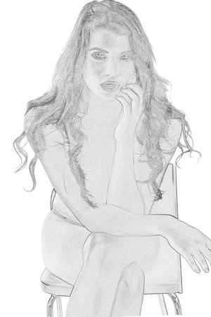 entice: Model Released. Illustration of a Sexy Young Woman Sitting on a Chair