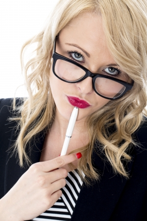 Model Released. Thoughtful Young Business Woman Wearing Glasses Stock Photo - 22401044