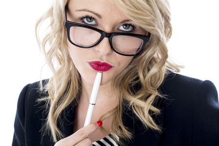 Model Released. Thoughtful Young Business Woman Wearing Glasses Stock Photo - 22401045