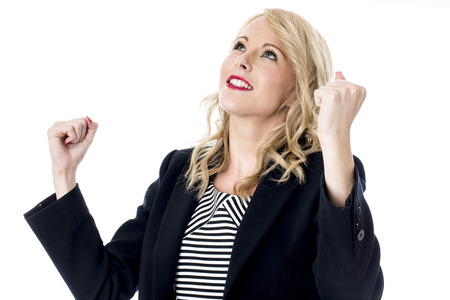 relieved: Model Released. Happy Relieved Young Business Woman Stock Photo
