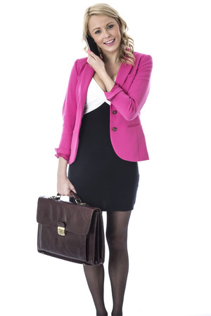 Model Released. Attractive Young Woman With a Briefcase and Mobile Telephone photo