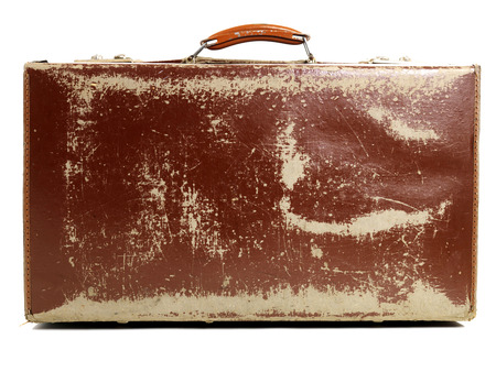 holdall: Battered Old Suitcase Stock Photo