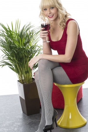 Model Released. Attractive Young Woman Drinking Red Wine photo