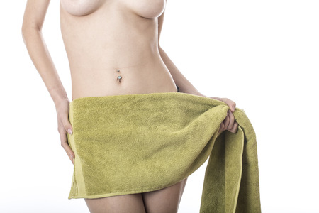 Model Released. Young Woman Wrapped in a Towel photo