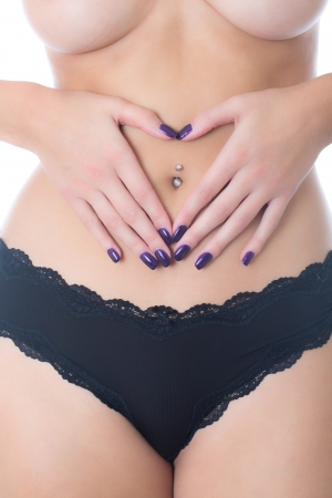 Topless Young Woman Wearing Black Panties photo