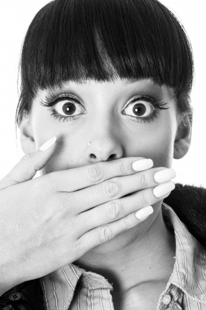 Shocked Embarrassed Young Woman photo