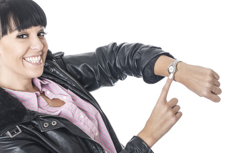 cut wrist: Young Woman Looking at Wrist Watch Stock Photo