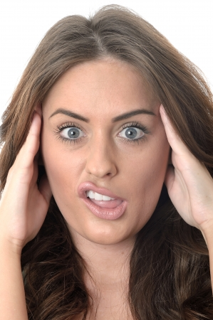 Attractive Young Woman Pulling Silly Faces Stock Photo