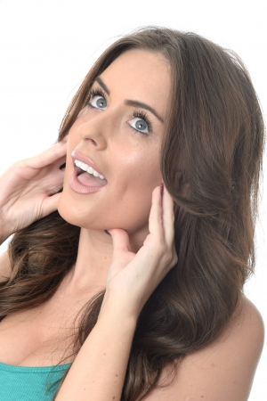 daft: Attractive Young Woman Pulling Silly Faces Stock Photo