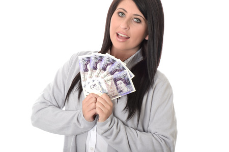 Young Woman Holding Money photo