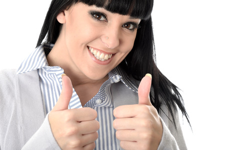 rewarding: Happy Young Woman Thumbs Up