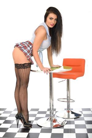 Pin Up Model Wearing Sexy Micro Mini Skirt Stock Photo