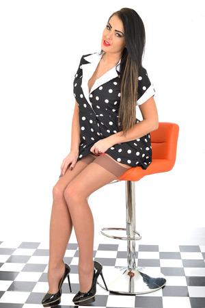 Attractive Young Pin Up Model Sexy Polka Dot Dress