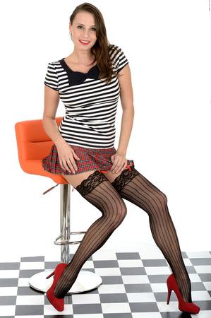 Sexy Young Woman Wearing Micro Mini Skirt