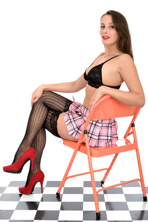 up skirt: Sexy Young Pin Up Model In Micro Mini Skirt