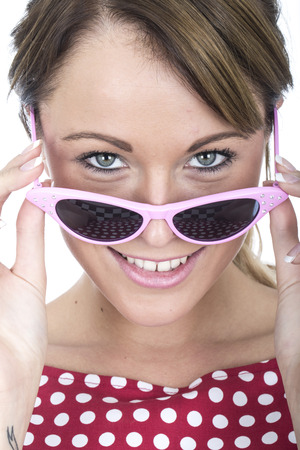 Young Woman Wearing Pink Framed Sunglasses photo