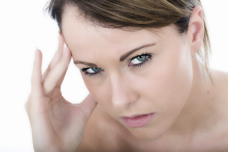 Sad Young Woman with a Headache Stock Photo