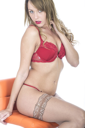 coy: Young Sexy Pin Up Model in Lingerie  Stock Photo