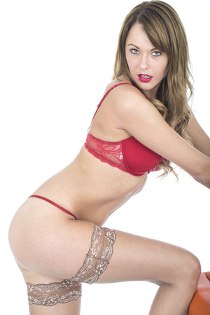 gstring: Young Sexy Pin Up Model in Lingerie  Stock Photo