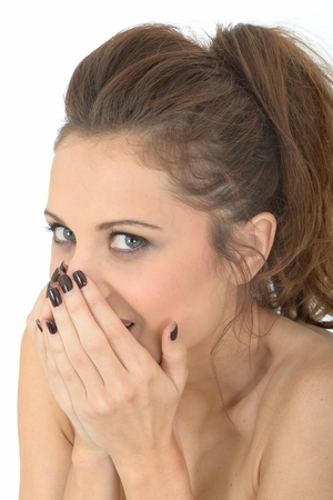 Shy Embarrassed Young Woman photo