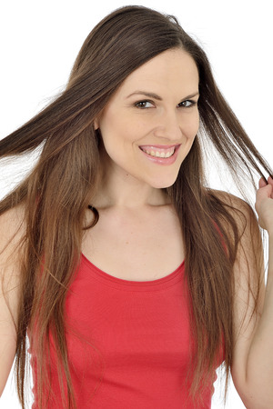 moods: Young Woman Playing with Her Hair Stock Photo