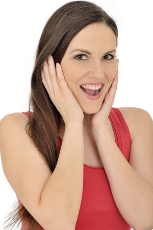 moods: Happy Excited Young Woman Stock Photo