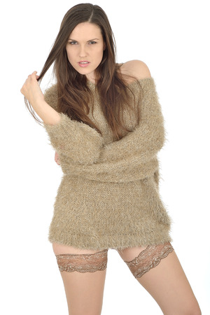 thirty something: Sexy young Woman Wearing Stockings and a Jumper