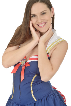 Young Pin Up Model Wearing Short Sexy Costume photo