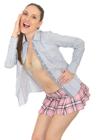 Young Pin Up Model Wearing Mini Skirt photo