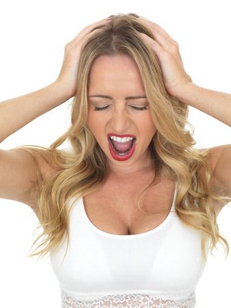 woman screaming: Frustrated Young Woman Screaming