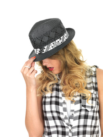 sulky: Sulky Sultry Young Woman Wearing Black Tilbury Hat