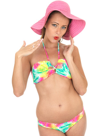 bonnet up: Attractive Sexy Woman Pin Up Model in a Bikini