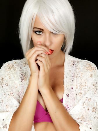 demure: Shy Coy Demure Young Woman