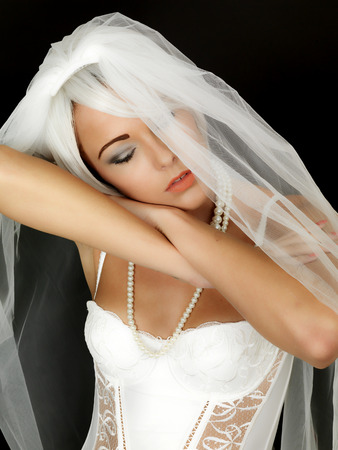 moods: Beautiful Sexy Young Bride Wearing Wedding Veil