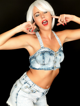dungarees: Attractive Woman Wearing Blue Dungarees