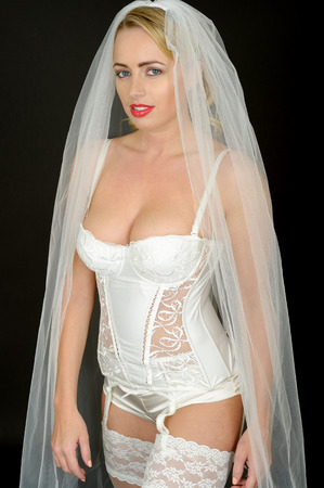 Sexy Young Pin Up Wedding Bride in White Lingerie photo