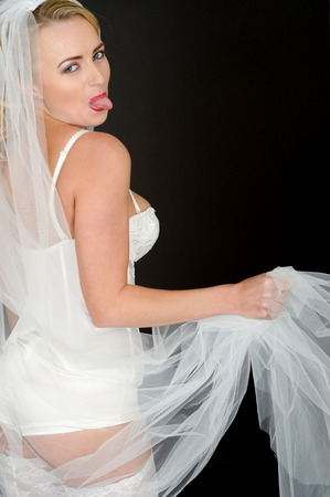 pull out: Sexy Young Pin Up Wedding Bride in White Lingerie