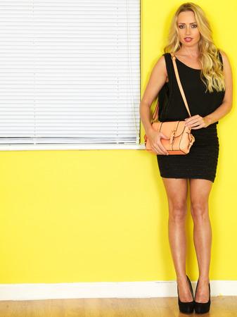 Attractive Young Woman Short Black Mini Dress Pink Bag photo