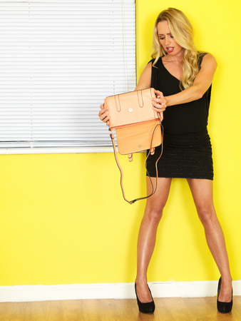 Attractive Young Woman Short Black Mini Dress Pink Bag photo