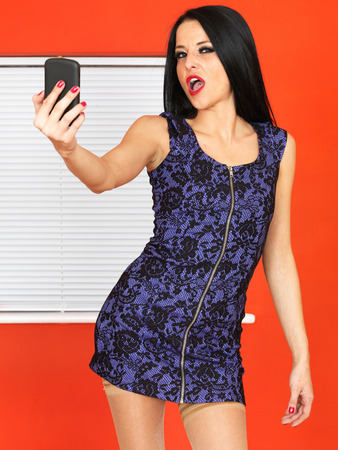 Sexy Young Woman Taking Selfies Photographs Stock Photo