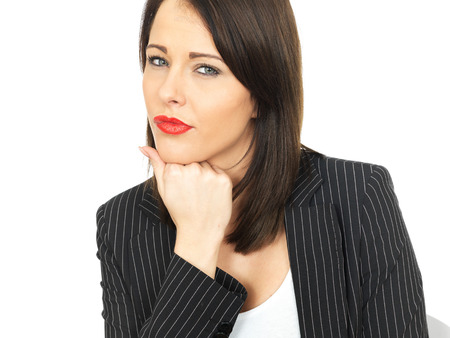 a situation alone: Attractive Thoughtful Young Business Woman Stock Photo