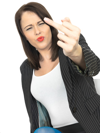 rebelling: Angry Frustrated Young Business Woman