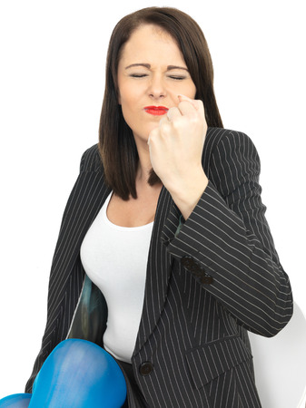 shaking out: Angry Frustrated Young Business Woman