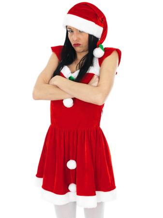 glum: Attractive Glum Sulking Sexy Santa Claus Pin Up Model