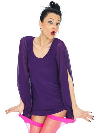 tugging: Sexy Young Wearing Woman Short Mini Dress