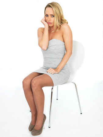 secretary skirt: Sexy Attractive Moody Sulky Young Business Woman Stock Photo